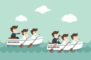 Leadership - businessman rowing team