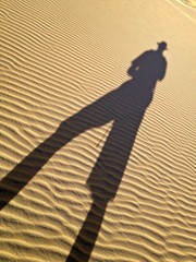Shadow and Silhouette in Desert Arid Landscape, White Sand Dunes