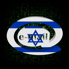 e-mail address symbol Israeli flag on hex illustration