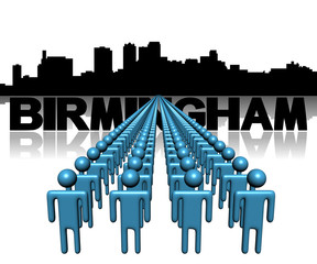 Lines of people with Birmingham Alabama skyline illustration