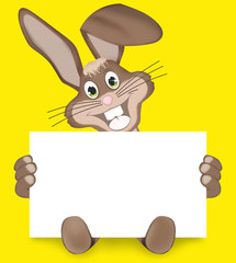 Happy Easter Bunny with white sign for your texts
