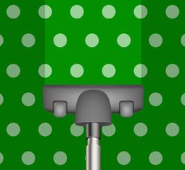 Vacuum cleaner drains green carpet