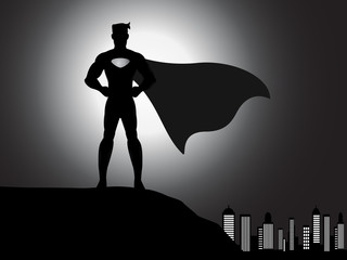 silhouette superhero in the city