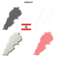 Blank detailed contour maps of Lebanon