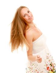 Portrait of a beautiful young woman wearing a dress
