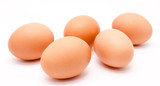 Fototapety Five brown chicken eggs isolated on a white background