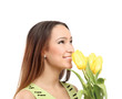 of happy woman with yellow tulips over white