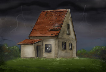Country house. Thunderstorm. Bad weather.