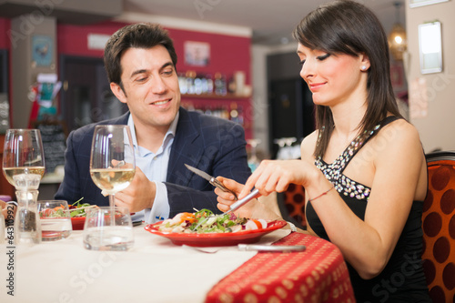 Couple having dinner in a restaurant