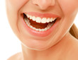 A smile with healthy woman's teeth, isolated on white.