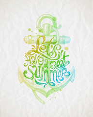 Hand drawn summer holidays greeting with anchor