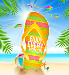 Flip-flop with summer greeting on the tropical beach