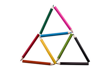 triangles of pencil colors on a white backgroiund