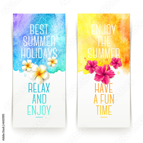 Summer holidays watercolor banners with tropical flowers - 64311911