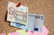 Euro banknotes money on notice board