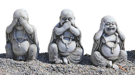 Trois bouddhas de la sagesse détourés