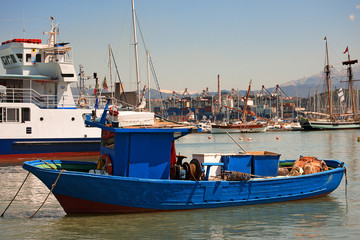 Blue and Red Fishing Boat