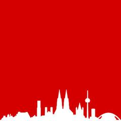 Skyline Köln rot