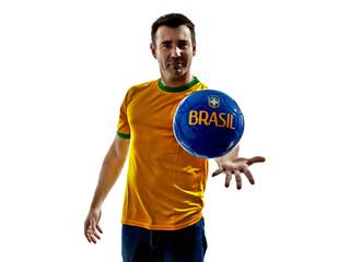 man Brazilian Brazil throwing giving soccer ball