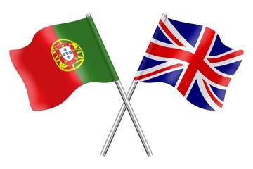 Flags: United Kingdom and Portugal