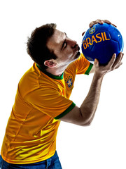 man Brazilian Brazil kissing soccer ball