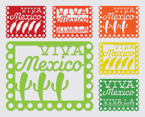 Mexican 'papel picado' (Paper flag decoration) set in vector for