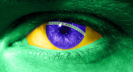 Close up on human eye with the flag of Brazil
