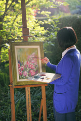 Flower painting in the garden