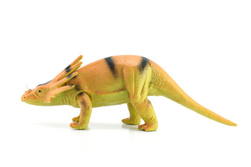 Styracosaurus dinosaurs toy on white background