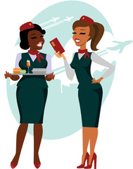 Air hostesses ready to fly