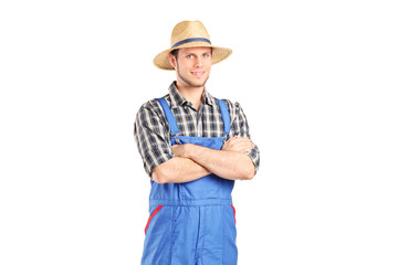 Male farmer in jumpsuit