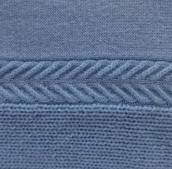 cashmere wool light blue with knitted pattern pigtail