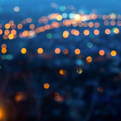 city lights in the evening with blurring background