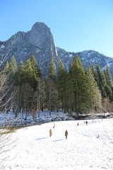 People on snow in Yosemite National Park