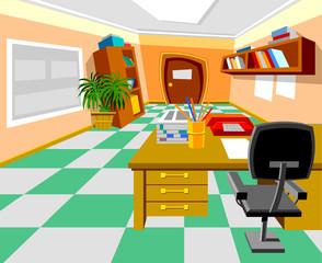 interior cabinet, cartoon teacher's office