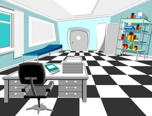 interior cabinet, cartoon medical office