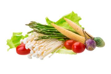 Japan mushroom, asparagus, egg-plant, baby-corn and salad