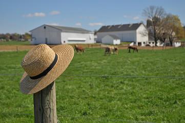 Amish straw hat on a Pennsylvania farm