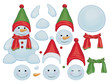 Vector snowman template, make own snowman.