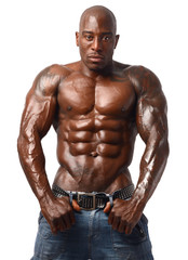 Strong bodybuilder man with perfect abs, shoulders,biceps