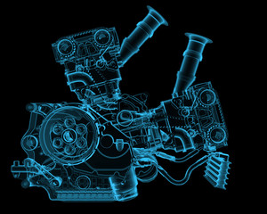 Engine x-ray blue transparent isolated on black