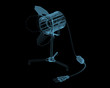 Desktop lamp x-ray blue transparent isolated on black