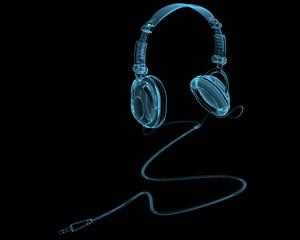 Headphones x-ray blue transparent isolated on black
