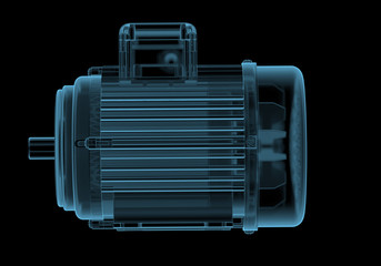 Electric motor with internals x-ray blue transparent isolated