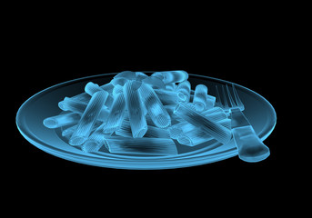 Fast food pasta x-ray blue transparent isolated on black