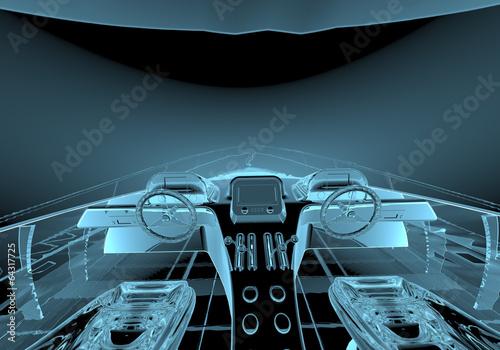Keuken foto achterwand Schip Luxury yacht x-ray blue transparent isolated on black
