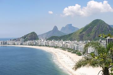 Copacabana Beach Rio de Janeiro Brazil Skyline Aerial View