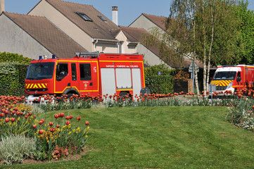 France, firemen truck in the village of Vernouillet in les Yveli