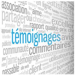 """Nuage de Tags """"TEMOIGNAGES"""" (avis choix utilisateurs clients)"""