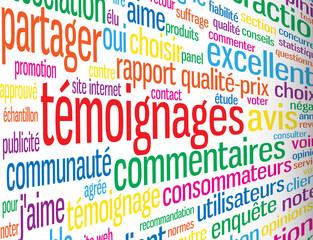 """Nuage de Tags """"TEMOIGNAGES"""" (indice enquête satisfaction avis)"""